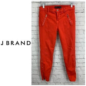 J Brand Intermix Fiery Red Ankle Zipper Skinny 👖